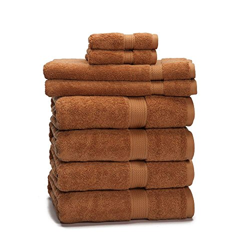 900 GSM 8 Piece Towel Set – Luxurious 100% Long Staple Cotton, Heavy Weight & Absorbent – 4 Large Bath Towels 30×55, 2 Hand Towels 20×30, 2 Face Towels 13×13, Rust