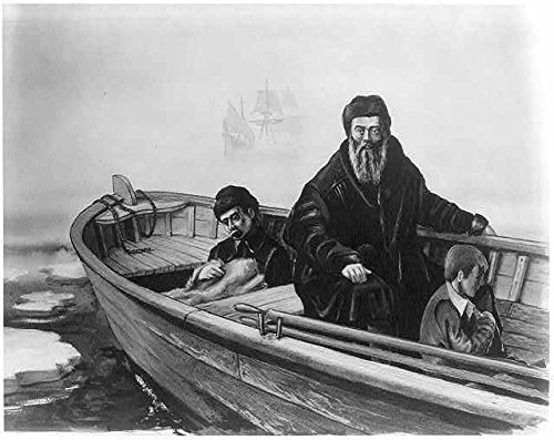 Photo: Henry Hudson adrift,ca. 1612,in rowboat,with boy,another man; ship in background (Hudsons Ship)