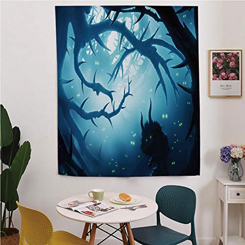 Mystic House Decor Blackout Window curtain,Free Punching Magic Stickers Curtain,Animal with Burning Eyes in Dark Forest at Night Horror Halloween Illustration,for Living Room,study, kitchen, -