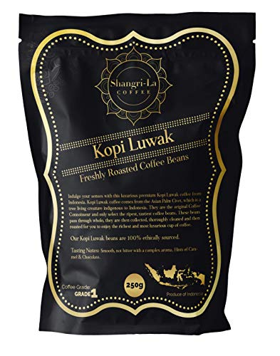 Shangri-La Coffee – Wild Kopi Luwak Coffee – Sustainably Sourced (from Indonesia) – Whole Bean and Ground Beans in…