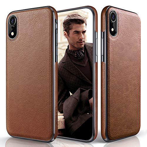 iPhone XR Case, LOHASIC Premium Leather Slim Fit Flexible Hybrid Defender Anti-Slip Soft Grip Scratch Resistant Protective Cover Soft Cases Compatible with Apple iPhone XR (2018) 6.1 inch - Brown ()