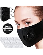 Pannow 3 Pack Air Pollution Dust Masks with Respirator, Reusable Air Filter Mask for Pollution Smoke Allergy Mask for Women Man N95 Protection with 30 Filters