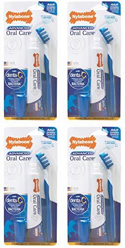 Nylabone Advanced Oral Care Dog Dental Kit, 4 Pack, for Regular Adult Dog Tooth Brushing (Nylabone Dog Dental Care)