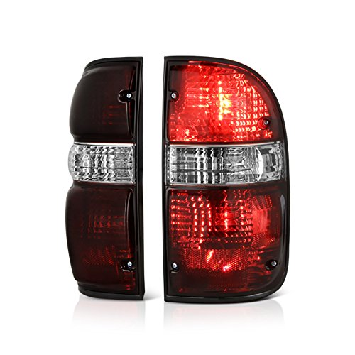(VIPMOTOZ Smoke Red Lens OE-Style Tail Light Lamp Assembly For 2001-2004 Toyota Tacoma Pickup Truck, Driver & Passenger Side)