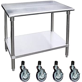 Merveilleux Work Table With 4 Casters Wheels Stainless Steel Food Prep Worktable ...