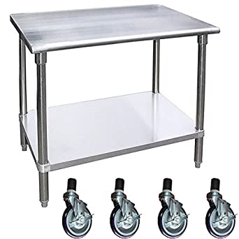 Nice Work Table With 4 Casters Wheels Stainless Steel Food Prep Worktable  18u0026quot ...