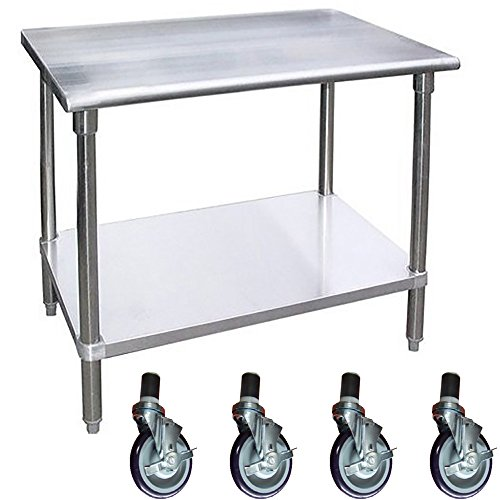 Work Table with 4 Casters Wheels Stainless Steel Food Prep Worktable 18X48 by AmGood