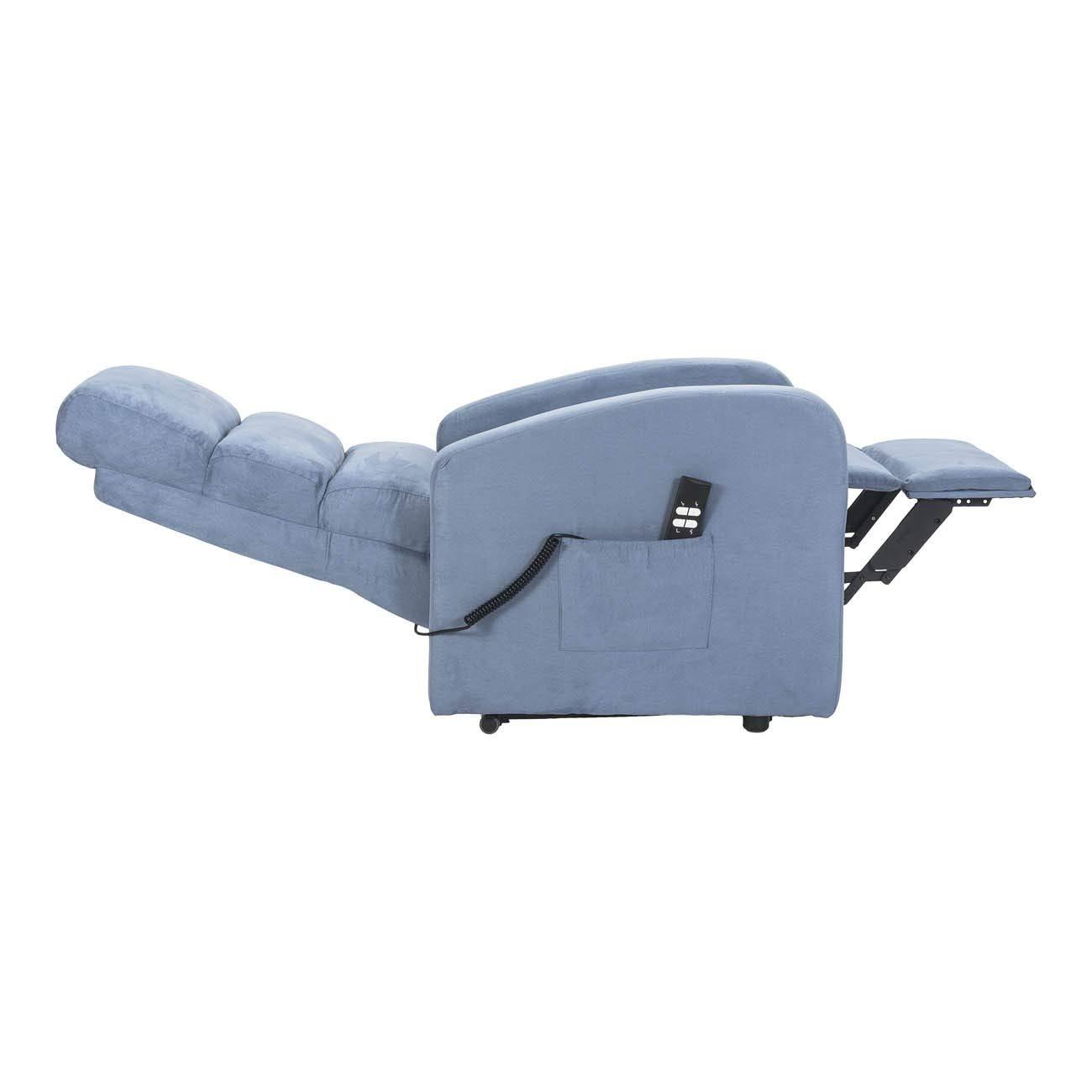 Fauteuil Relax /électrique avec 1 Moteur et syst/ème releveur Robin-1M-CS-MISKY Bleu Microfibre Personnalisables Accessoires CE Medical Sime