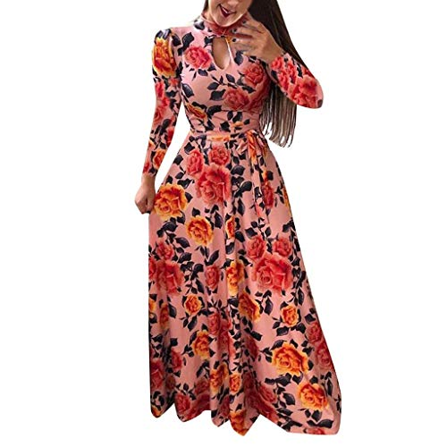 Yucode Women Floral Printed Long Sleeve Tunic Long Maxi Dress Puffy Swing Party Dress Cocktail Party Dresses Red