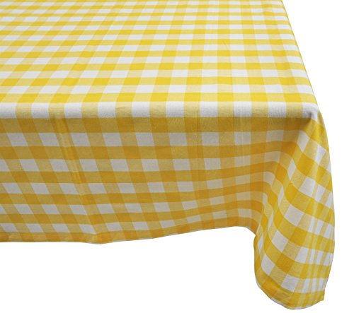 (Yourtablecloth 100% Cotton Checkered Buffalo Plaid Tablecloth –for Home, Restaurants, Cafés – Be it for Everyday Dinner Picnic or Occasions like Thanksgiving 60 x 120 Rectangle/Oblong Yellow and White)