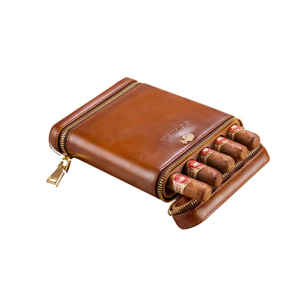 8HAOWENJU Cigar Sets, Moisturizing Holsters, Portable Cigar Holsters, Cedar Wood Moisturizing Sets, 5 Packs of Cigars, The Most Upscale Gift for Business Men (Color : Brown)