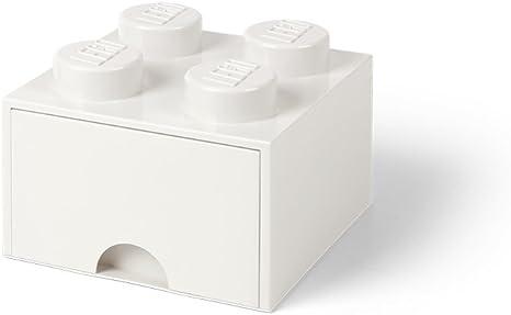 LEGO 40051735 Ladrillo 4 pomos, 1 cajón, Caja de almacenaje apilable, 4,7 l, Legion/White, 25 x 25 x 18 cm: Amazon.es: Hogar