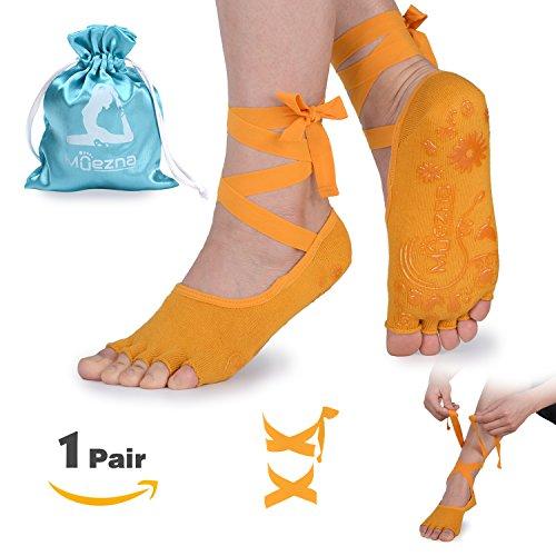 Muezna Anti-Skid Yoga Socks for Women with Strap, Toeless Non Slip Grip Pilates, Barre, Ballet, Bikram Workout Socks with Cotton (Yellow)