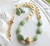 Mint Green Gold Cream Lucite Bead Necklace Earrings SET
