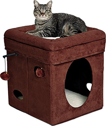 "MidWest ""The Original"" Curious Cat Cube, Cat House / Cat Condo in Brown Faux Suede & Synthetic Sheepskin 51K4Pgxb1JL"