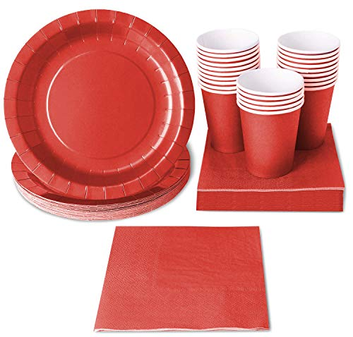 Red Party Supplies - 24-Set Paper Tableware - Disposable Dinnerware set for 24 Guests, Including Paper Plates, Napkins and Cups, Red (Plates Solid Tableware Color)