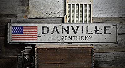 DANVILLE, KENTUCKY - Rustic Hand-Made Vintage Wooden Sign - US Flag