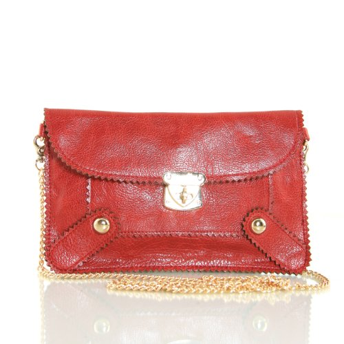 Faux Leather Envelope Wristlet Clutch Fashion Designer Bag with detachable Chain Strap (Red), Bags Central