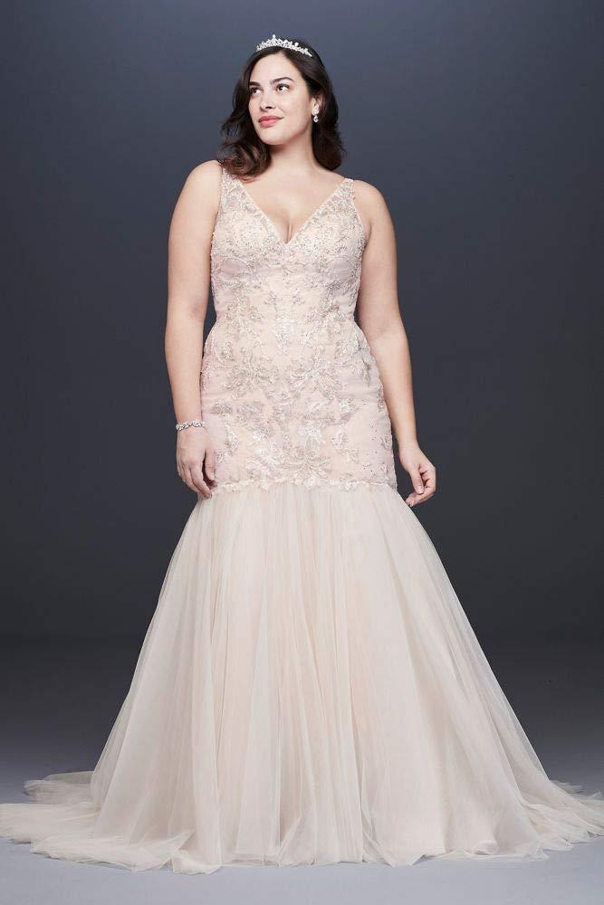 Mermaid Beaded Floral Lace Plus Size Wedding Dress Style 8CWG832 -  Plussizeforless.com