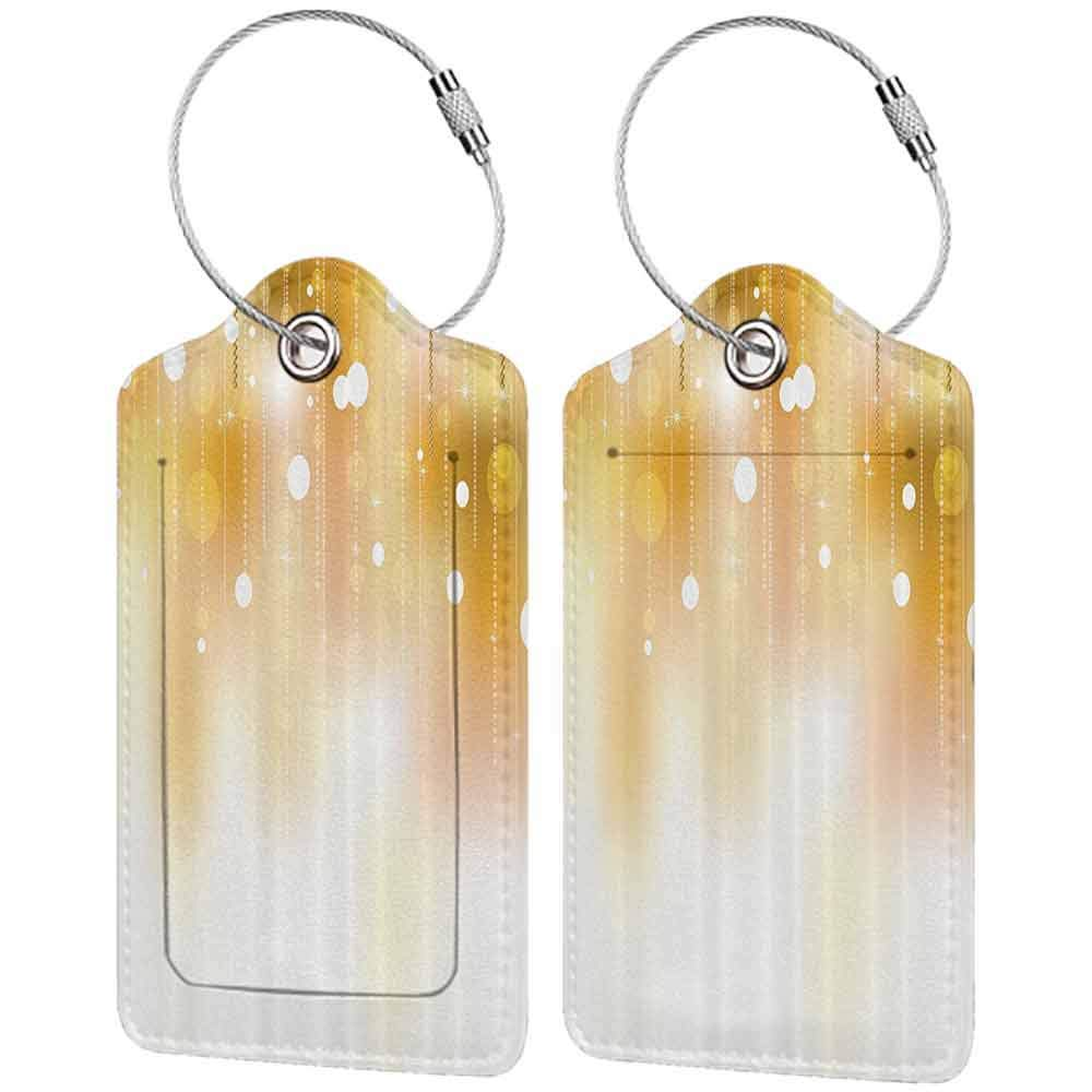 Soft luggage tag Pearls Decoration Golden Color Blurred Background with Circles Christmas Party Decor Art Image Print Bendable Gold and White W2.7 x L4.6