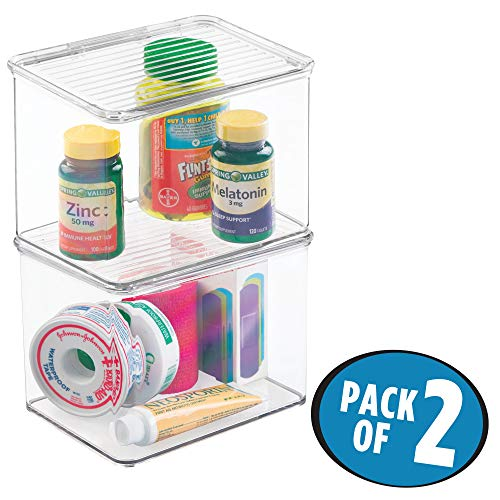 InterDesign Med+ Storage Box Organizer for Vitamins, Medicine, Medical, Dental Supplies - Set of 2, Small, Clear