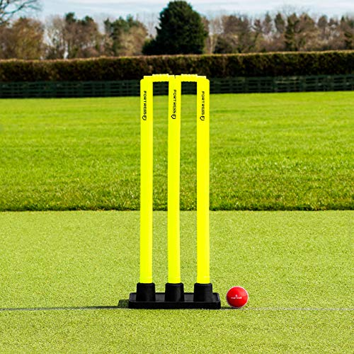 (Flexi Cricket Stumps [Rubber Based] | Fluro Yellow Plastic Stumps & Bails (100% Portable) (Senior))