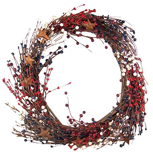 Primitive Red, White, and Blue Grape Vine Patriotic 4th of July Wreath, 16 Inches