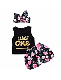 i-Auto Time Baby Girl Arrow Letter Vest Shirt Top+Floral Shorts+Headband Outfits Clothes Set