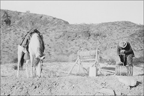 24x36 Poster; A Rider Fills His Keg From A Desert Well 30 Miles North Of Palomas, Arizona. By Stanton G. Smith, April 5, - Arizona Mils