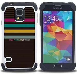 """Hypernova Híbrido Heavy Duty armadura cubierta silicona prueba golpes Funda caso resistente Para SAMSUNG Galaxy S5 V / i9600 / SM-G900 [Acciones Amabilidad pastel Patrón texto""""]"""