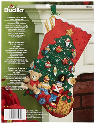 Bucilla 18-Inch Christmas Stocking Felt Applique Kit, 86303 Under The Tree ()