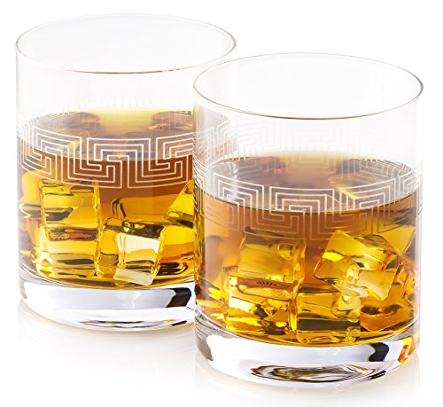 Hand Etched Whiskey Glasses BROM | Made in Europe | Ancient Greek Key Pattern | Set of 2 x 10.8 oz Old Fashioned Glasses | Gift Box.