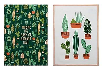 Charmant Elizabeth Olwen Plant Life Cactus Garden Designer Kitchen Dish Tea Towels  Dishcloths Set Of 2