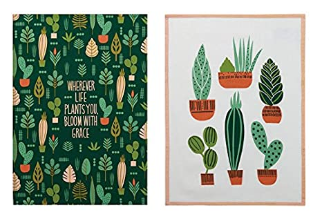 Genial Elizabeth Olwen Plant Life Cactus Garden Designer Kitchen Dish Tea Towels  Dishcloths Set Of 2