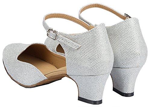 Tda Cm107 Da Donna Open Toe Glitter Latino Moderno Samba Rumba Scarpe Da Ballo Di Nozze Argento