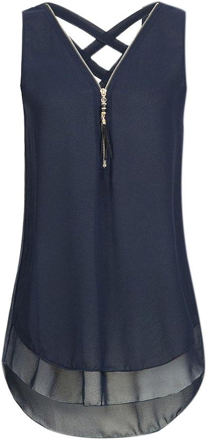 Damen Bluse Tops Sommer Oberteil Tunika Shirt Shirts ärmellos Sommertop 3-7