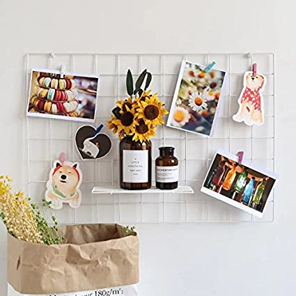 Bar Multifunction Wire Grid Panel Photo Wall Art Display Organizer