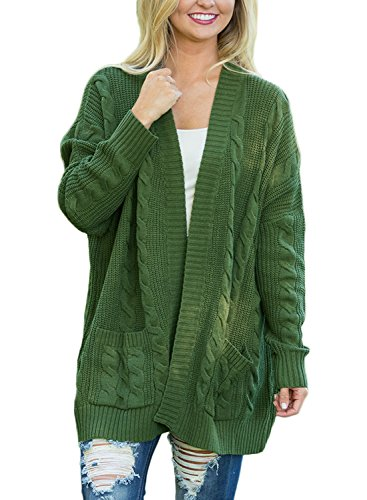 Woman Casual Woman Knit Cardigan Coat (Green) - 1