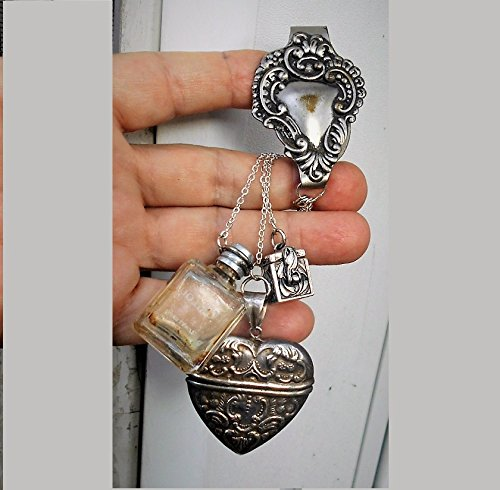 Silver Sterling Chatelaine (Poison Bottle CHATELAINE 1 Tiny Corked Bottle Perfume, Snuff, Ashes, Scrolled Heart Belt Clip, Vesta Sterling Hinged Heart, 925 Prayer Box)