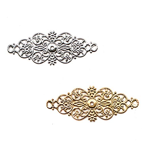 JETEHO 100Pcs Filigree Wrap Charm Pendant Connector, Metal Laminate Decoration Supplies for DIY Hairpin Headwear Earring Costume Jewelry Making ()