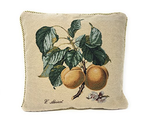 DaDa Bedding Throw Pillow Cover - Elegant Yellow Apricot Floral Fruit - Square Accent Colorful Décor - 18