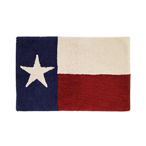 Avanti Linens Texas Star Bath Rug, Ivory, Red,