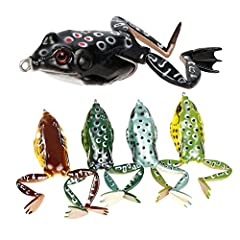 Lifelike Design  High-resolution body detail and life-like swimming actions like a real frog or bullfrog, bring maximum performance, help anglers attract a bigger catch.Snag Resistant  Weedless design together with 2 hidden hooks of the frog ...