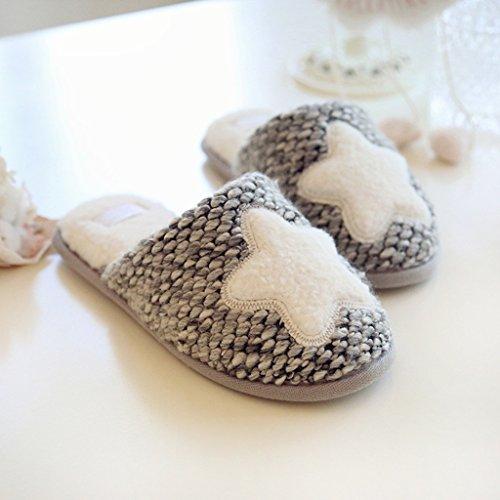 Fortuning's JDS Femmes Filles Confortable Chaussures Velours Maison Velours Peluche Étoile Gris agréable forme plate Pantoufles