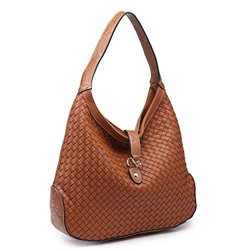 Women Hobo Bag Shoulder Handbag Ladies Woven Purse Tan Brown Vegan Leather (Woven Leather Purse)