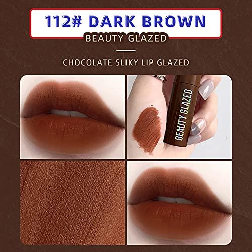 1 PCS Lip Gloss Chocolate Matte Lip Glaze Matte Non-fading Lipstick (L)