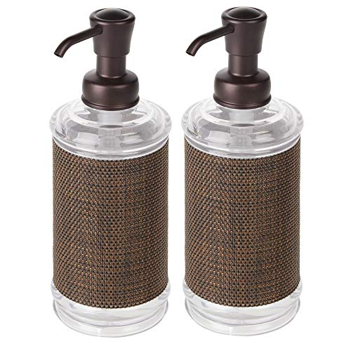 mDesign Decorative Tall Refillable Plastic Liquid Hand Soap Dispenser Pump Bottle for Bathroom, Kitchen - Holds Soaps, Sanitizer, Hand Lotion & Essential Oils - 2 Pack - Clear/Bronze