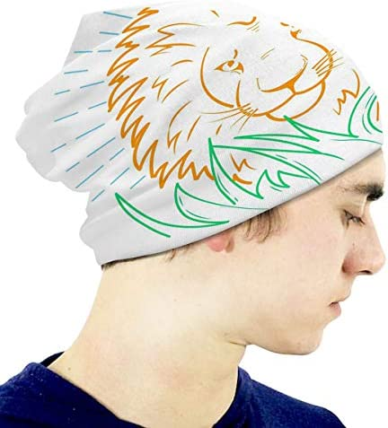 Kids Knit Cap Icon of A Lion in The Grass Linear Style Beanie Skull Hat
