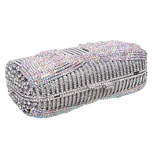 And For rouge Argent Bonjanvye Crystal Bags Clutches Women Evening coloré Bow Clutch Purses vwUWZHqR8