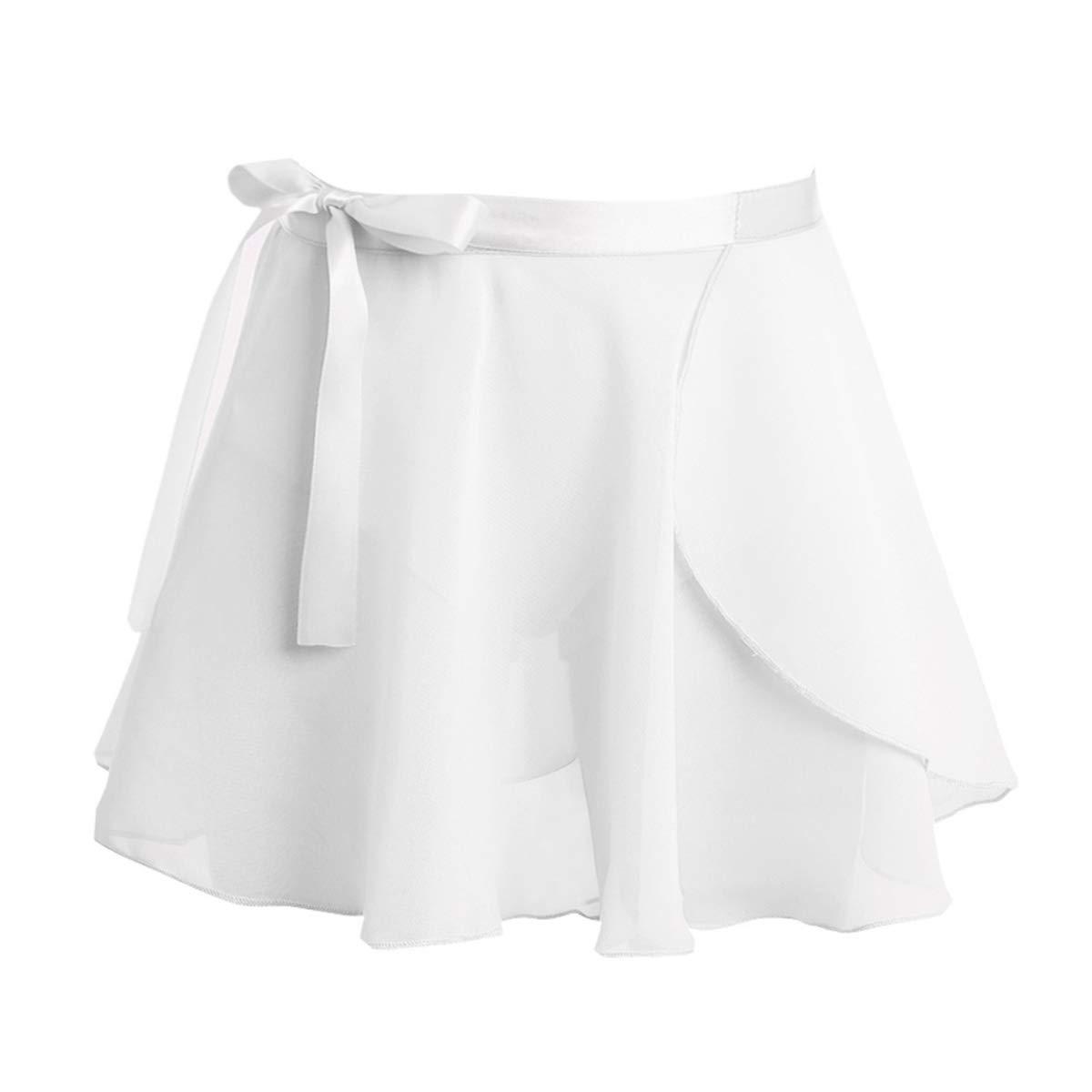 Agoky Kids Girls Classic Dance Basic Chiffon/Floral Lace Pleated Short Tutu Skirt Pull On Warp Dance Wear White Chiffon 4-6